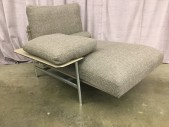 "Chaise, Right Arm, Heavy Basket Woven Wool, Polished Cast Aluminum Frame With Gray Leather Accents, Back Cushion, Arm Cushion, Seat Cushion And Bolster, Pairs With #31102826, High End , Gray, Silver, Chaise, Sofas, 42""W, 57""D, 36""H, Upholstery, Aluminum, 2000's, Modern"