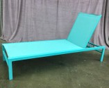 "Single Chaise Lounge Chair, Turquoise Aluminum Frame, Folds Down Flat, W/ 4 Adjustable Backrest Heights,Reclines Totally Flat For A Total Of 5 Reclining Positions, Warehouse, Turquoise Blue, Patio Furniture, Patio, Normal Wear And Tear, 72""W, 26.5""D, 37""H, Aluminum, Not Applicable"