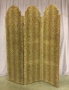 "Room Divider Screen, 3 Panel Divider, One Side Jaguar Print, One Side Solid Brown, Both Sideds Are Upholstered Velour, Warehouse, Black, Dk. Brown, Screen, Screens, Brown, Medium Brown, Normal Wear And Tear, 62""W, 1.5""D, 77""H, Velour, Wood, Animal Print Pattern"