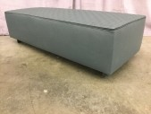 "Ottoman, Upholstered Bench, Gray Leather Top With Cambre Stitching, Aluminum Legs With High Gloss Enamel Pewter Finish, High End Warehouse, Gray, Pewter Gray, Ottoman, OTTOMANS, 51""W, 20""D, 14""H, Leather, Steel, 2000's, Modern"
