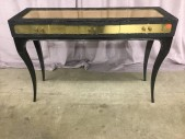 "Dressing Table, Polished Brass Top And Drawer Fronts, Iredescent Black Python Fabric, Black Laquered Legs, Gold Side Tassle, Emerald Green Cut Glass Bead, Koket, High End Warehouse, Black, Brass , Console, Table, 54.5""W, 17.5""D, 35""H, Brass, Snakeskin, 2000's, French"