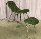 "Bondage Chair, Sex Game Device, Green Buttoned Velvet Uphostery, Antique Style Brass Frame, Leather Straps And  Stirrups, High End Warehouse, Green, Brass , Chair, Chairs, Brown, 60""W, 16""D, 38""H, Cut Velvet, Brass, 2000's, Antique"
