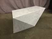 "Marble Table, Modern Design, Asymmetrical Facets, High End Warehouse, Black & White, Coffee Table, Table, 46""L, 15""D, 17""H, Marble, Carrara, 2000's, Modern"