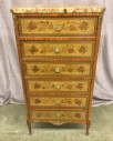 "French Lingerie Chest, Floral Inlay, Herring Bone Rosewood Veneer, Polished Aggregate Ston Top, Ornate Brass Castings, Warehouse, Autumn Colors, Medium Brown, Dresser, Bedroom Furniture, Normal Wear And Tear, 24.5""W, 12""D, 46""H, Stone, Hardwood, Floral"