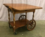 "Bar Cart W/ 1 Drawer, Drop Leaf Sides, Wooden Spindle Handle, 2 Larger Wagon Style Wheels In Front W/ 2 Small Casters In Rear Towards Handle, Warehouse, Brown, Cart, KITCHDINE, Normal Wear And Tear, 30""W, 34.5""D, 28""H, Knechtel Quality, Wood, Not Applicable"