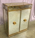 "Liquor Cabinet W/ Flip Top,  Front 3 Sides All Mirrored, Gold Trim, W/ 2 Swinging Cabinet Doors W/ Ornate Gold Carved Knob Handles, W/ 2 Pull Drawers, 1 Standard Shelf, 6 Glass And Bottle Holders On The Inside Of Cabinet Doors , Warehouse, Mirrored Finish, Gold, Residential Cabinets, Cabinets, White, Normal Wear And Tear, 34.5""W, 18""D, 42""H, Mirror, Wood, Acid Washed"