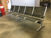 "Eames, Herman Miller, Airport Lobby Bench, 5 Seat Bank, Black Vinyl, Aluminum Frame, Three Legs, Warehouse, Black, Silver, Lobby Seat, Office, 117""W, 32""D, 34""H, Vinyl, Aluminum, 1960's"
