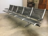"Eames, Herman Miller, Airport Lobby Bench, 5 Seat Bank, Black Vinyl, Aluminum Frame, Two Legs, Warehouse, Black, Silver, Lobby Seat, Office, 117""W, 32""D, 34""H, Vinyl, Aluminum, 1960's"