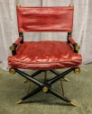 "Arm Chair, Hollywood Regency Directors Chair Inspired Design, Red Crocodile Leather With Dark Hard Wood Frame, Gold Finished Steel  Accents, High End Warehouse, Red, Dk. Brown, Chair, Chairs, Gold, No Visible Wear And Tear, 25""W, 21""D, 37""H, Leather, Wood"