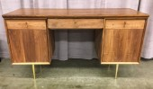 "Desk, Walnut, Dove Tail Joinery, Brass Pulls,  Flip Down Middler Drawer, Soft Close, Push Button Cabinet Doors, Round Tapered Steel Legs With Gold Finish, High End Warehouse, Brown, Gold, Desk, Desks, No Visible Wear And Tear, 59""W, 23.5""D, 32""H, Walnut, Steel"