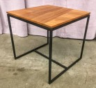 "End Table, Square Walnut Top, Floating Edge On Black Tube Steel Frame, High End Warehouse, Brown, Black, Accent Table, Table, No Visible Wear And Tear, 20""W, 20""D, 19.5""H, Walnut, Steel"