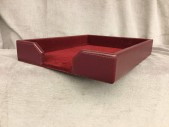 "Burgundy Bonded Leather Letter Tray Part Of A 5 Piece Set With Matching Pencil Cup, Business Card Holder, Memo Holder, And Desk Pad / Blotter, High End Handprops, Burgundy, Office Dressing & Books, OFFCSUPEQP, 13.5""L, 10.5""W, 2""H, Dacasso, Leather, Not Applicable"