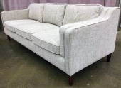 "Sofa, Flecked Hessian Upholstery, 8 Cushions Incuding Side Arm Cushions, Round Tapered Walnut Legs With Dark Finish,, High End Warehouse, Gray, Hign End Sofa, Sofas, Pristine Or In Mint Condition, 85.5""W, 35""D, 32""H, HD Buttercup, Burlap, Walnut"